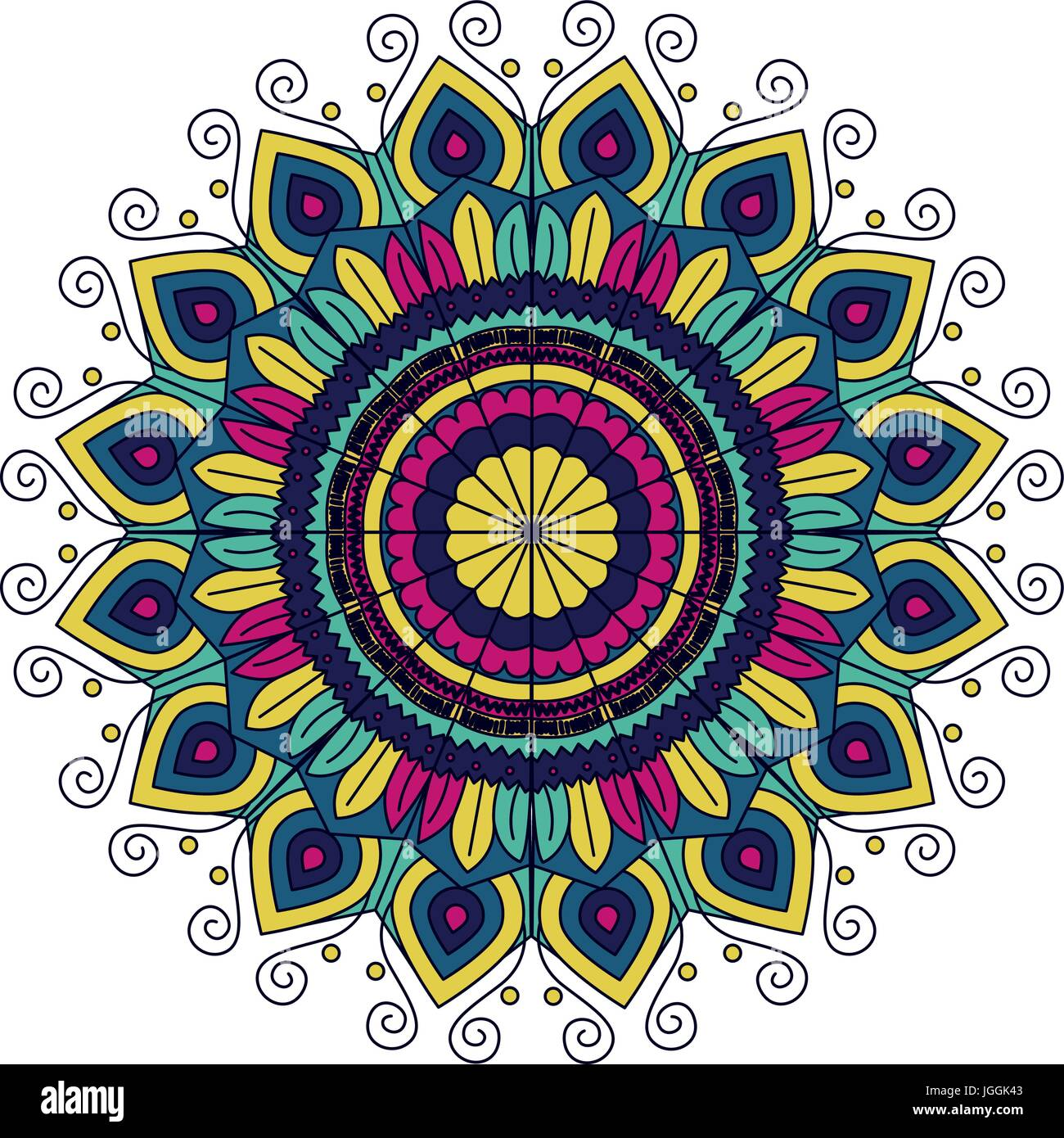 White Background With Silhouette Color Flower Mandala Vintage Decorative Ornament