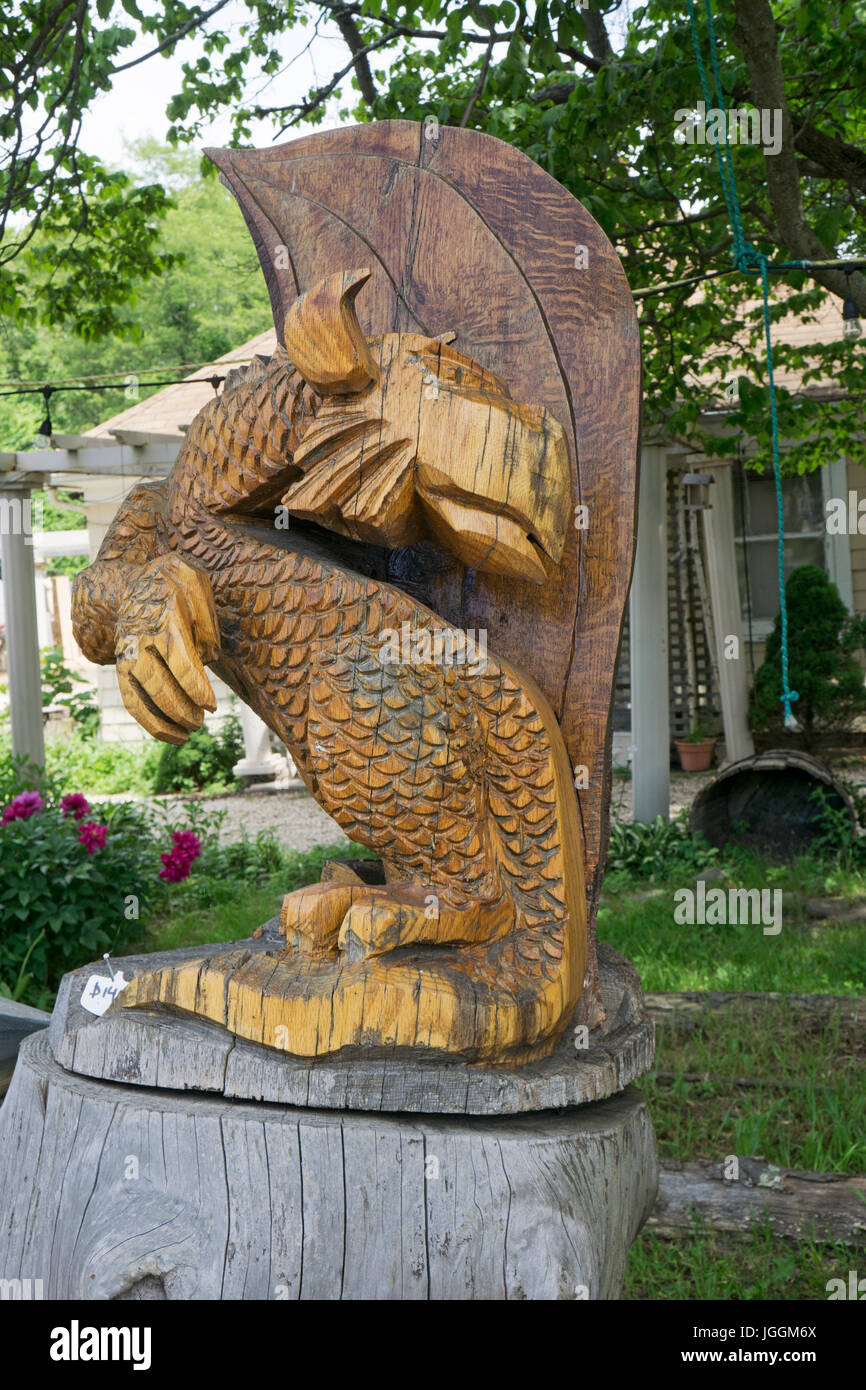 Mysterious chainsaw wood carving by artist fred steffen