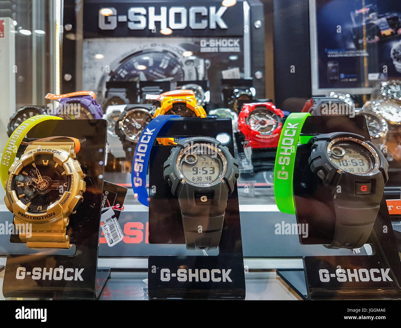 Nowy Sacz, Poland - June 30, 2017: Casio G-Shock watches for sale in a shop window. G-Shock is a line of watches - Stock Image