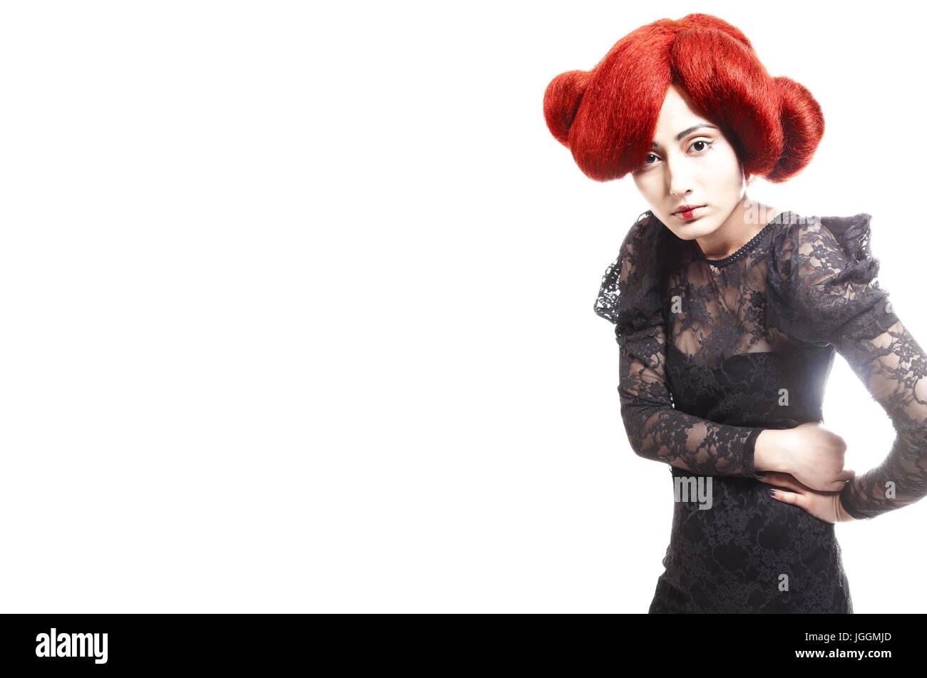 Geisha attraktiv beautifull Haar Hairstyle colorful - Stock Image