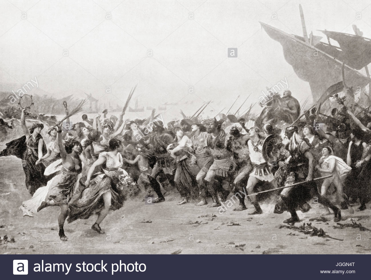 The Athenians rejoicing their victory after the naval Battle of Salamis, 480 BC.  From Hutchinson's History - Stock Image