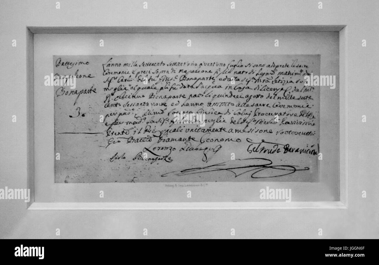 The house of Napoléon in Ajaccio :Baptism certificate of Napoleon - Stock Image