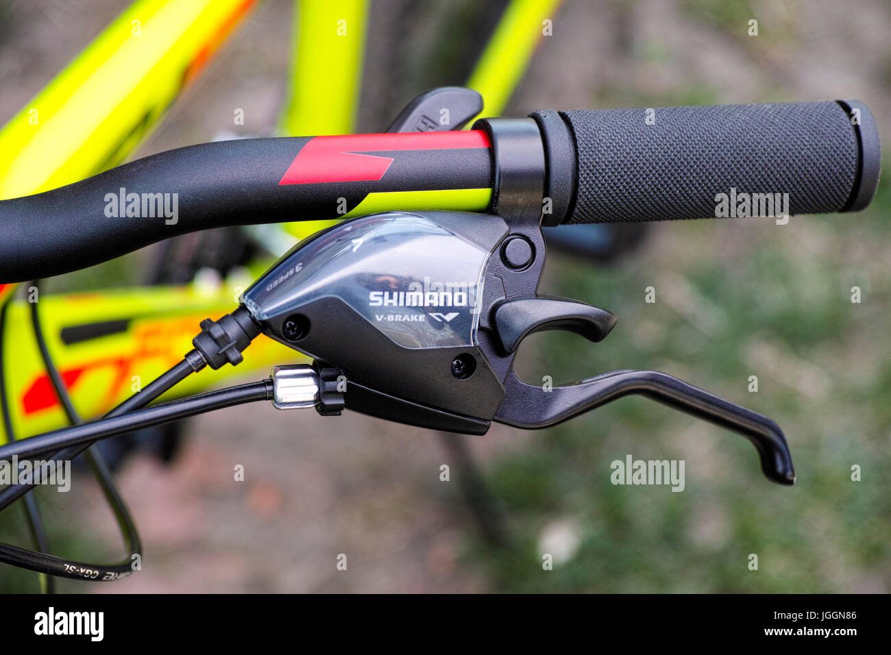 Tambov, Russian Federation - May 07, 2017 Shimano brake lever on handlebars. Close-up. - Stock Image