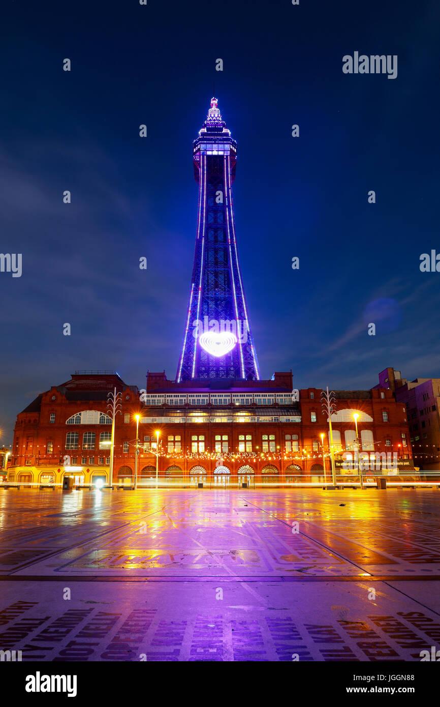 Blackpool; Tower; Comedy Carpet; Lancashire; UK - Stock Image