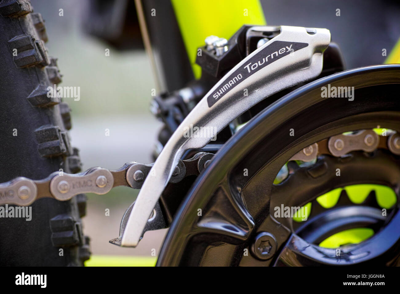 Tambov, Russian Federation - May 07, 2017 Close-up of Shimano Tourney front derailleur on bicycle chainwheel. - Stock Image