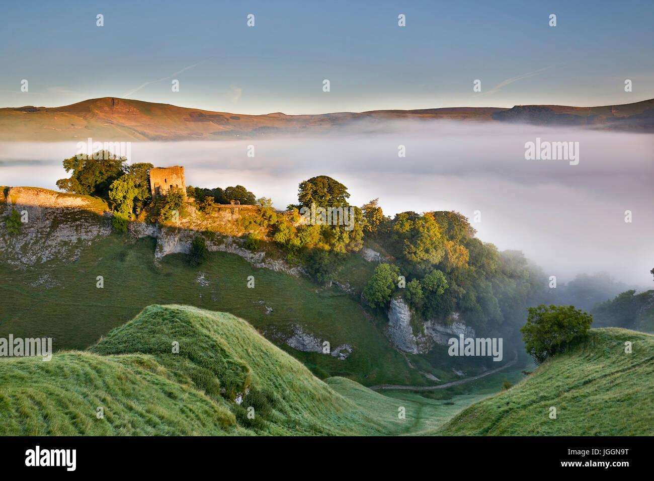Cave Dale; Misty Morning; View of Mam Tor;  Derbyshire; UK - Stock Image