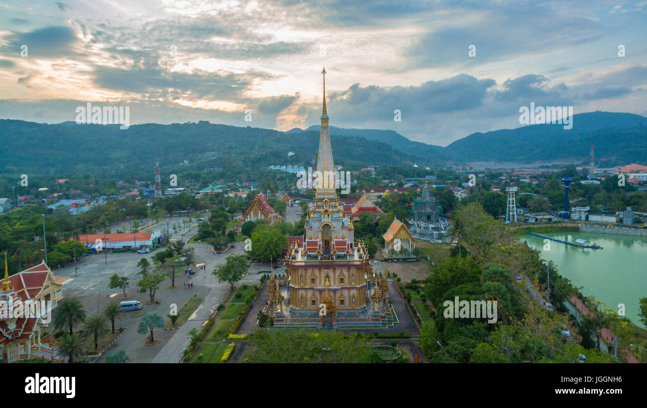 the Wat Chalong temple is the largest and most revered in Phuket. all tourists like to visit Chalong temple. The - Stock Image