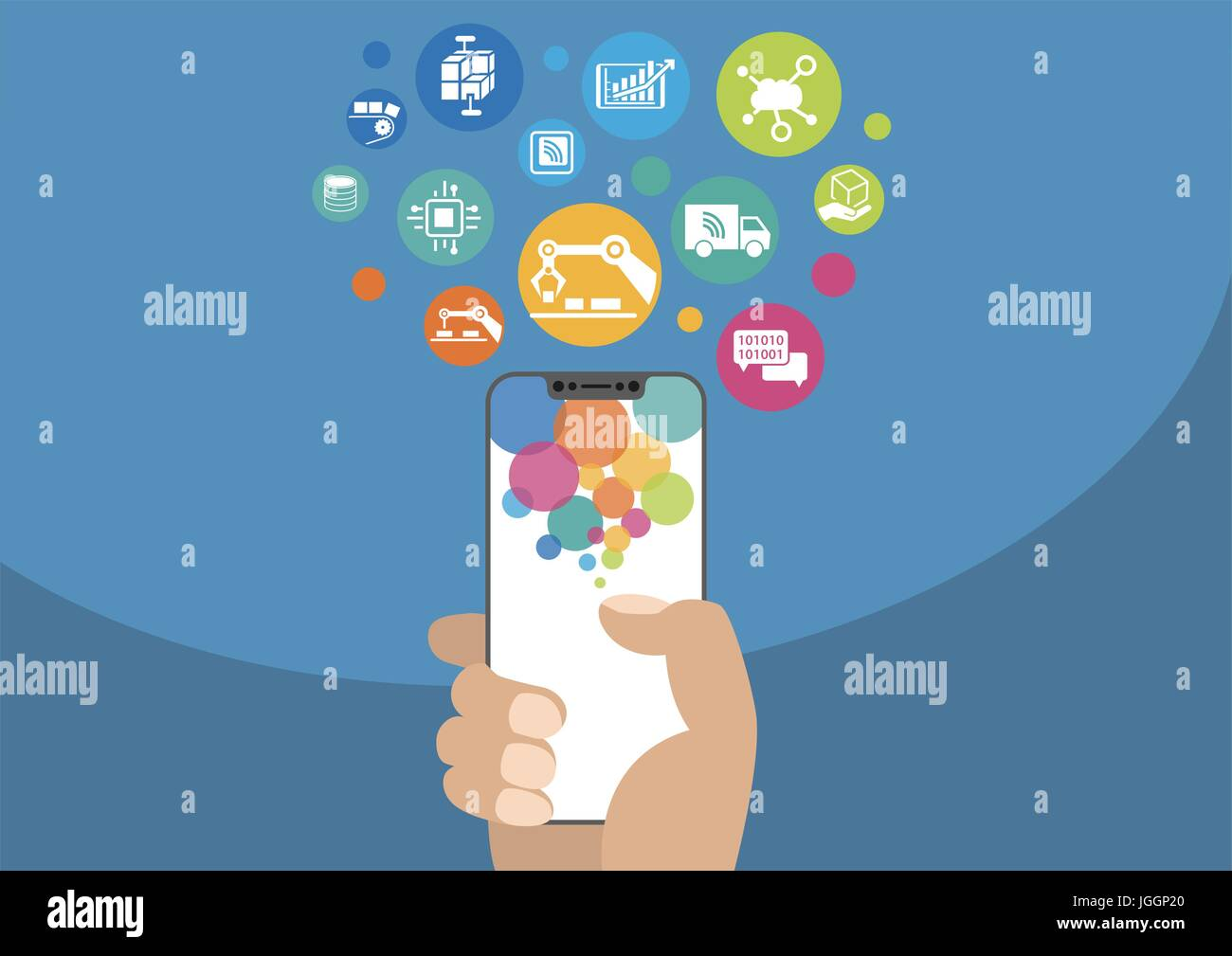 Smart factory vector illustration with icons. Hand holding modern bezel-free / frameless smartphone on blue background Stock Vector