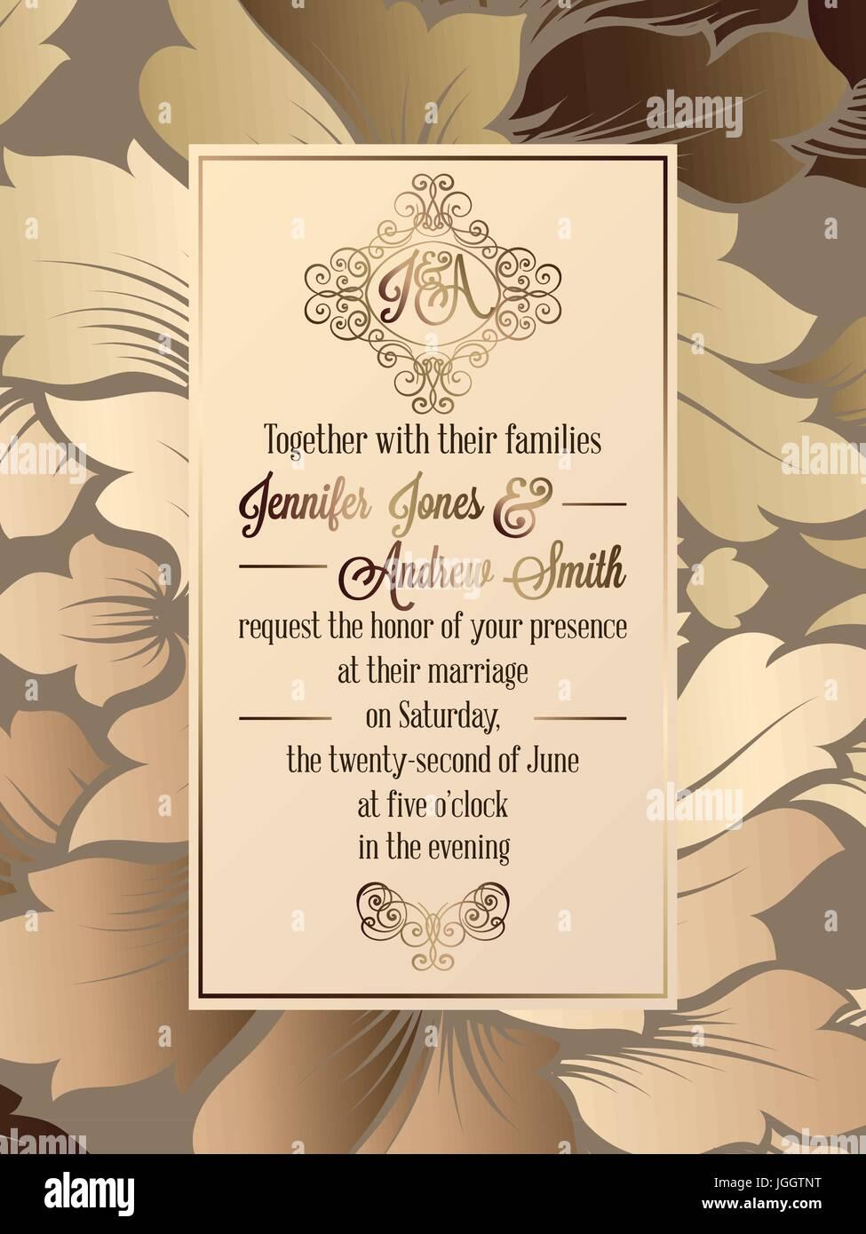 Vintage baroque style wedding invitation card template elegant vintage baroque style wedding invitation card template elegant formal design with damask background traditional decoration for wedding stopboris Choice Image