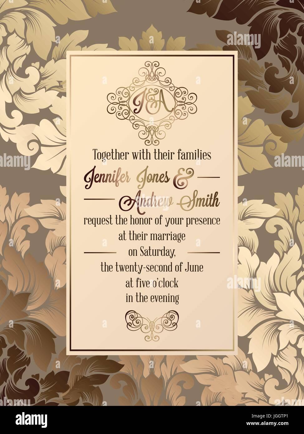 Vintage Baroque Style Wedding Invitation Card Template Elegant Stock Vector Image Art Alamy