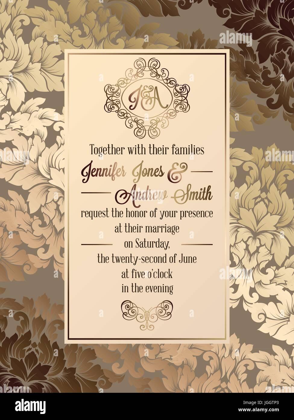 Vintage baroque style wedding invitation card template elegant vintage baroque style wedding invitation card template elegant formal design with damask background traditional decoration for wedding stopboris Gallery