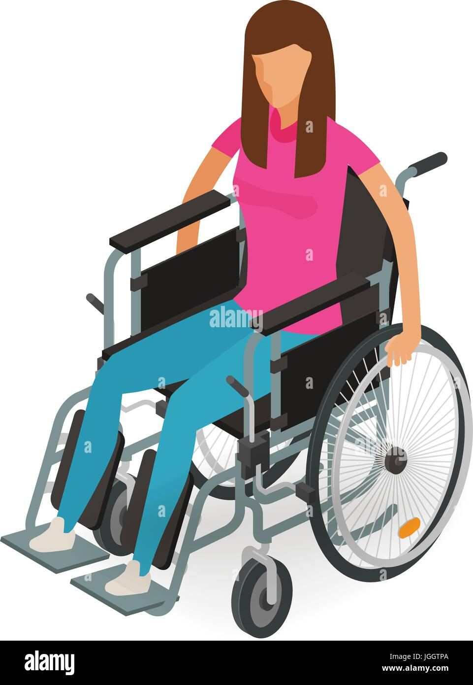 Girl, woman sitting in wheelchair. Invalid, disabled, cripple icon or symbol. Cartoon vector illustration isolated - Stock Vector