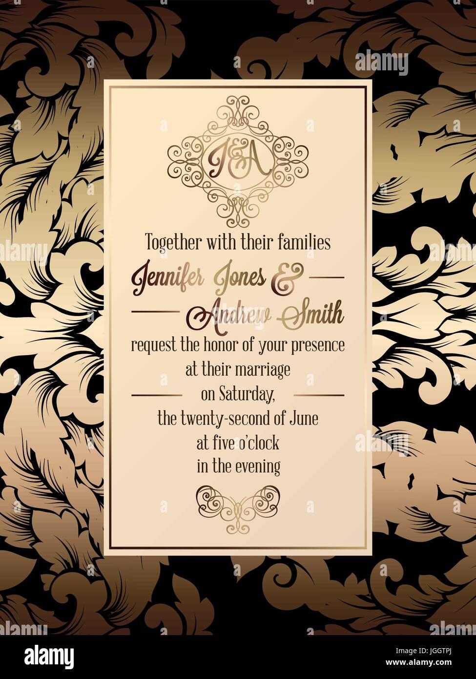 Vintage baroque style wedding invitation card template elegant vintage baroque style wedding invitation card template elegant formal design with damask background traditional decoration for wedding gold on bla stopboris Choice Image
