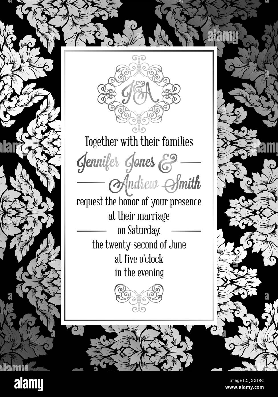 Wedding Card Black And White Stock Photos Images Alamy