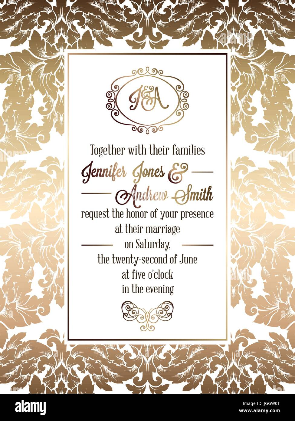 Vintage baroque style wedding invitation card template elegant vintage baroque style wedding invitation card template elegant formal design with damask background traditional decoration for wedding gold on whi stopboris Choice Image