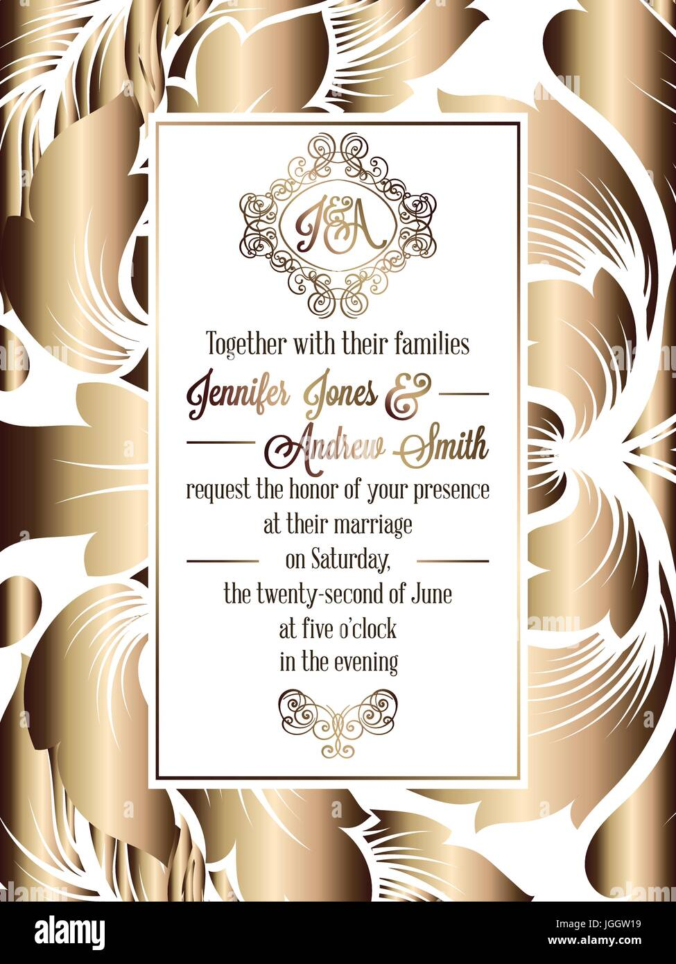 Vintage baroque style wedding invitation card template elegant vintage baroque style wedding invitation card template elegant formal design with damask background traditional decoration for wedding gold on whi stopboris Image collections