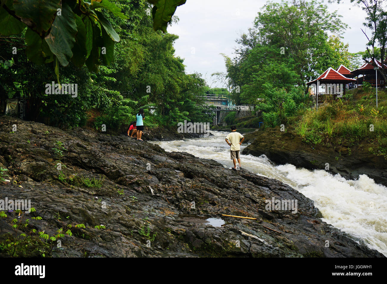 Pillow Lava in Berbah Sleman, Yogyakarta. Pillow Lava formed from melted lava eruptions, that are in direct contact Stock Photo