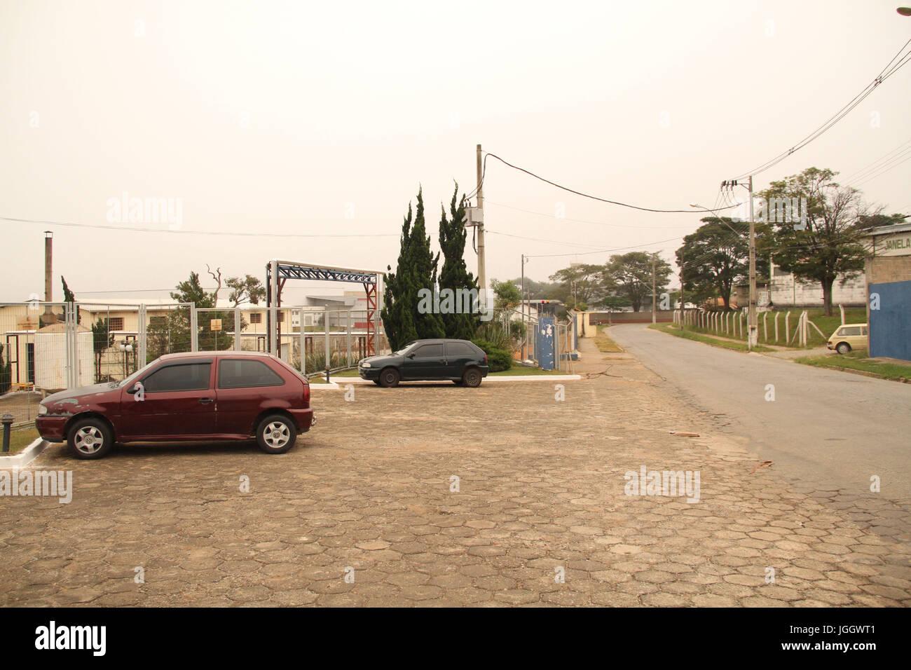 Street, cars, Industrial District, 2016 Lavras, Minas Gerais, Brazil. Stock Photo