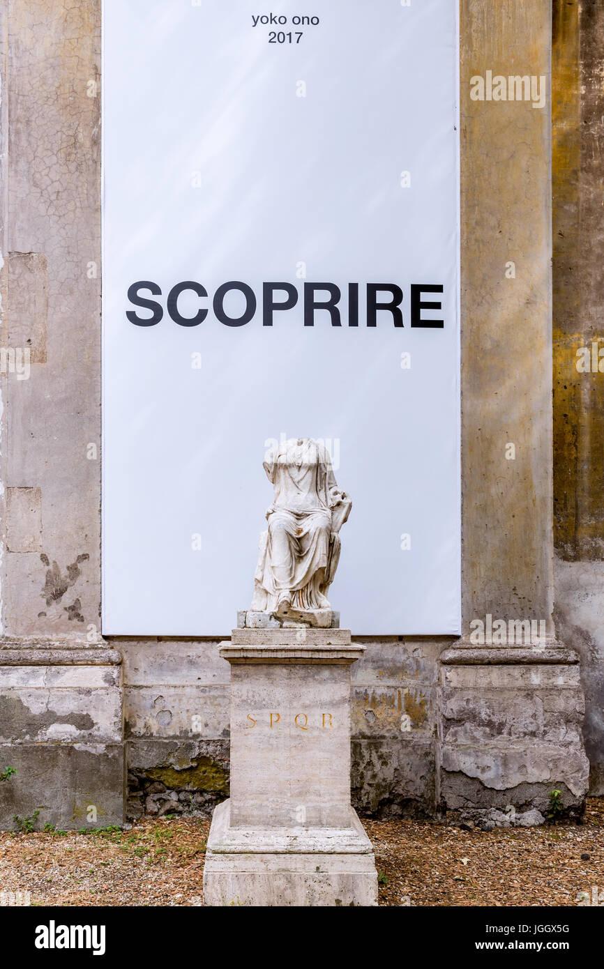 Advertisement for Yoko Ono Claire Tabouret -One day I broke a mirror - exhibition, Villa Medici , Rome, Italy - Stock Image