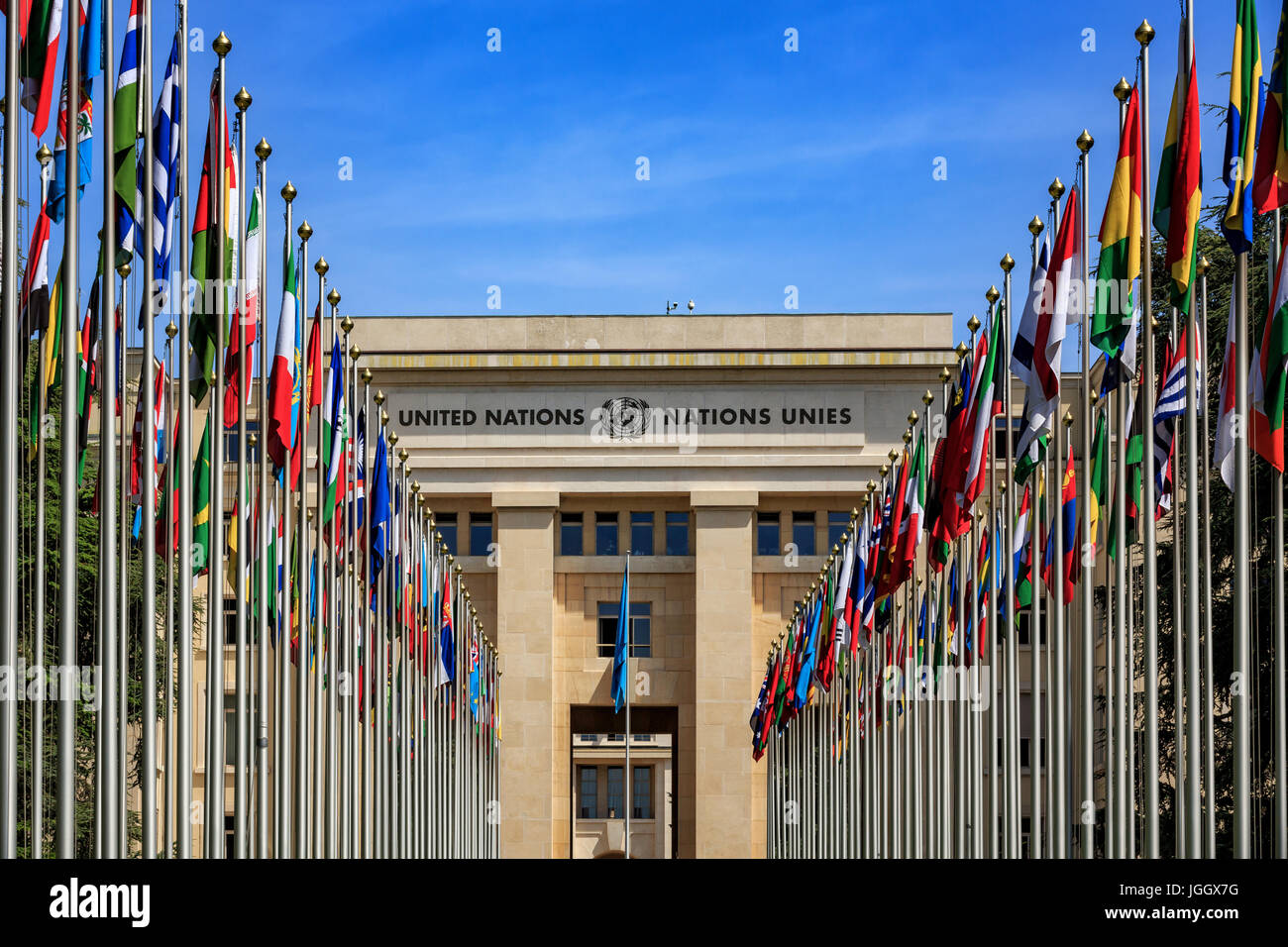 Flagpoles in front of United Nations, UN, Palais des Nations, Geneva, Switzerland, Europe - Stock Image