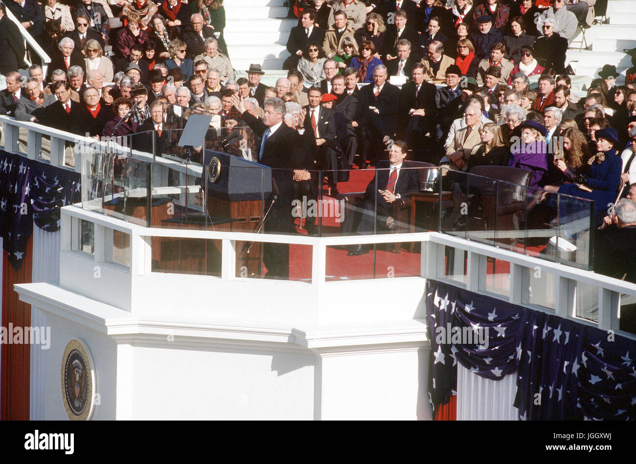 President Clinton delivers his Inaugural address moments after being sworn in as 42nd President of the United States - Stock Image