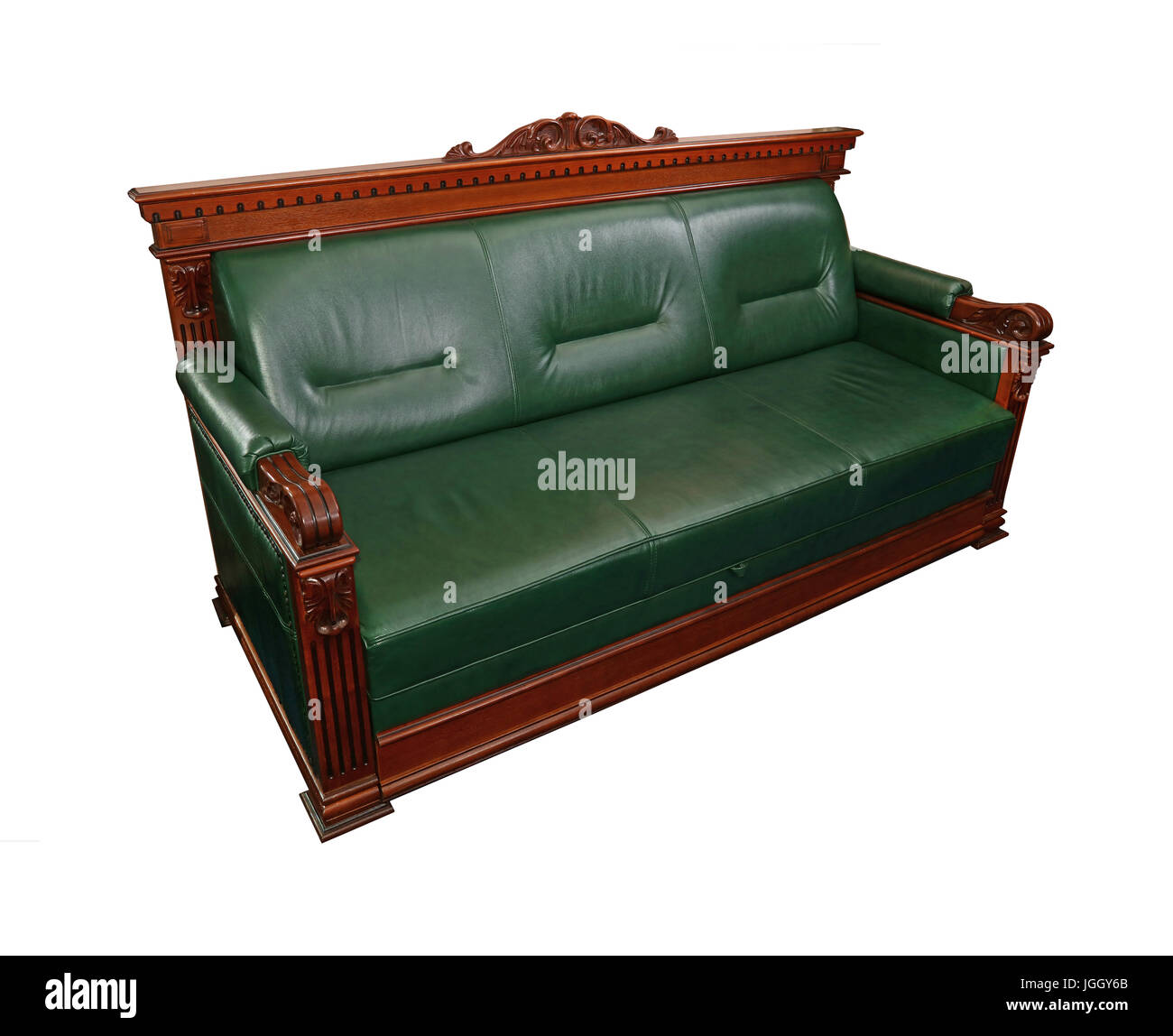 Green leather retro classic style coach sofa with brown wooden frame isolated on white close up high angle side view