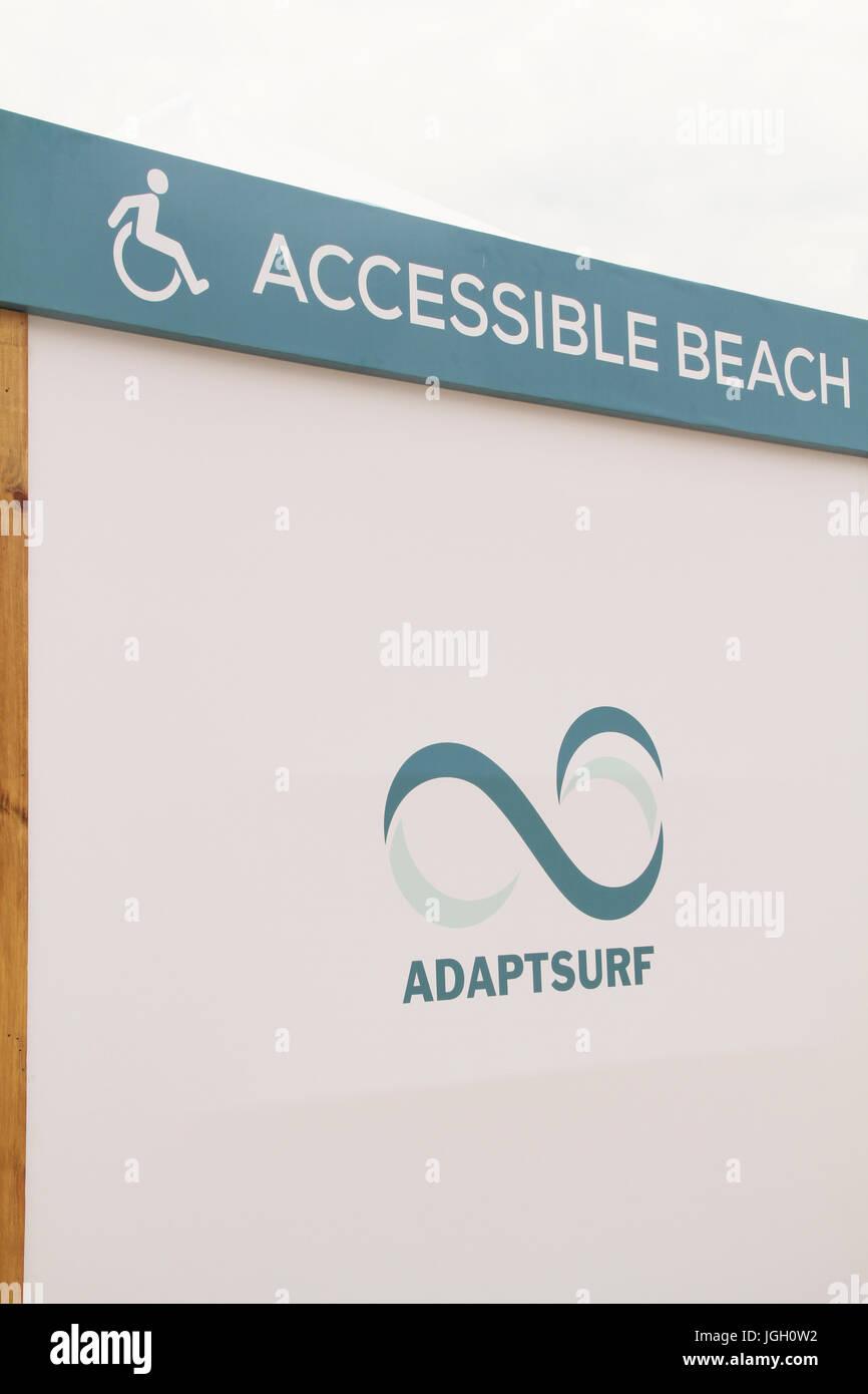 accessible beach, Copacabana Beach, 2016, Copacabana, Rio de Janeiro, Brazil. - Stock Image