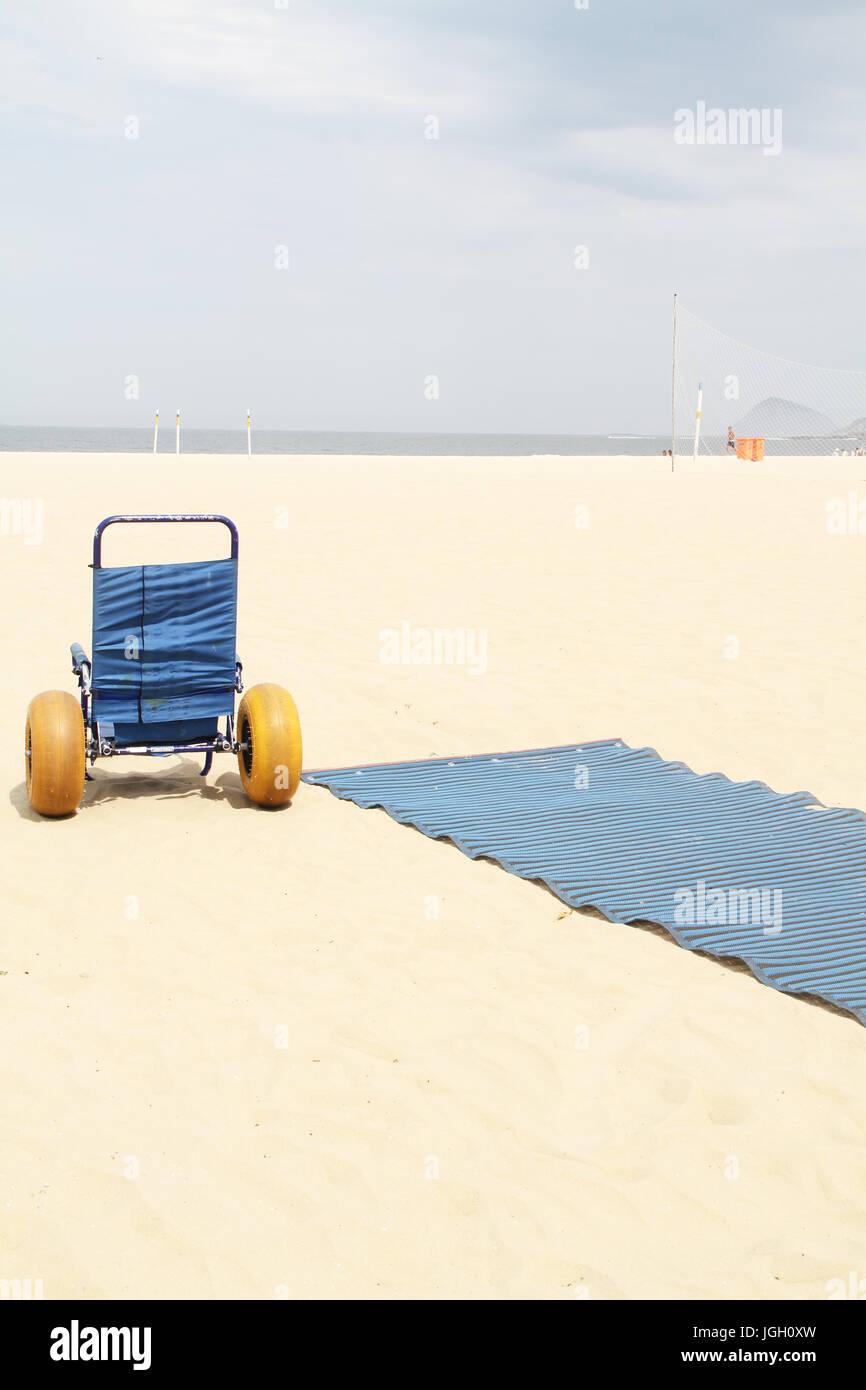 accessible beach, amphibious chair, Copacabana Beach, 2016, Copacabana, Rio de Janeiro, Brazil. - Stock Image