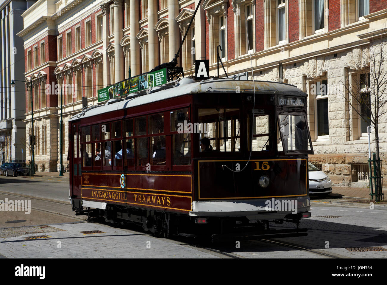 Tram and historic Government Departmental Buildings, New Regent Street, Christchurch, Canterbury, South Island, - Stock Image