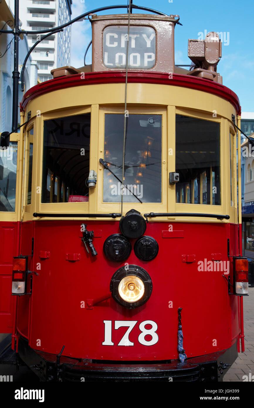 Tram, New Regent Street, Christchurch, Canterbury, South Island, New Zealand - Stock Image