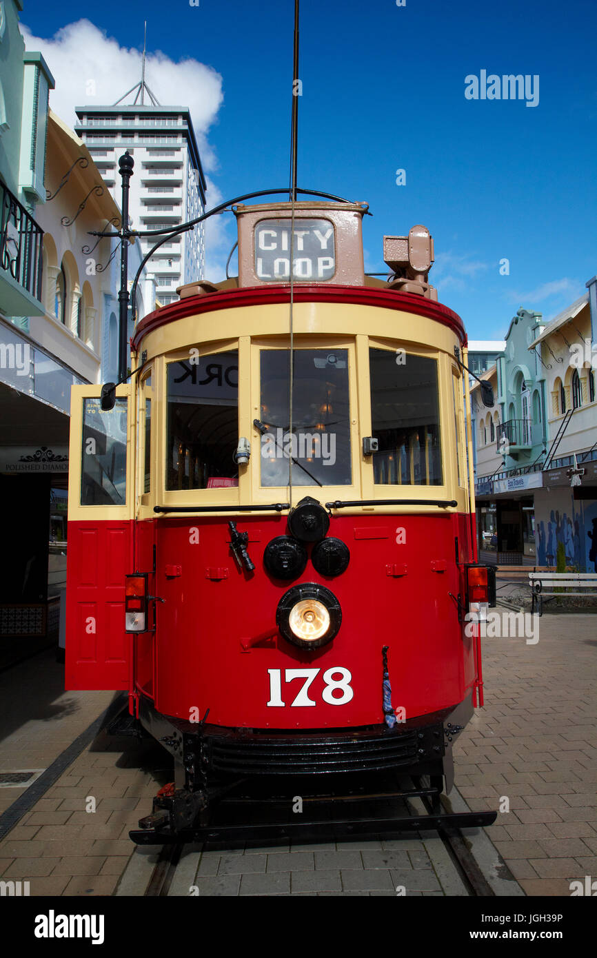 Tram and art deco buildings, New Regent Street, Christchurch, Canterbury, South Island, New Zealand - Stock Image
