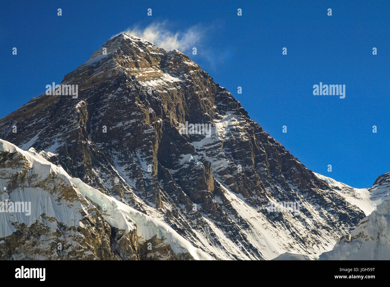 Telephoto of South Ridge and Hillary Step of Mount Everest from Scoundrel Ridge in Gokyo Valley in Nepal Himalaya Stock Photo