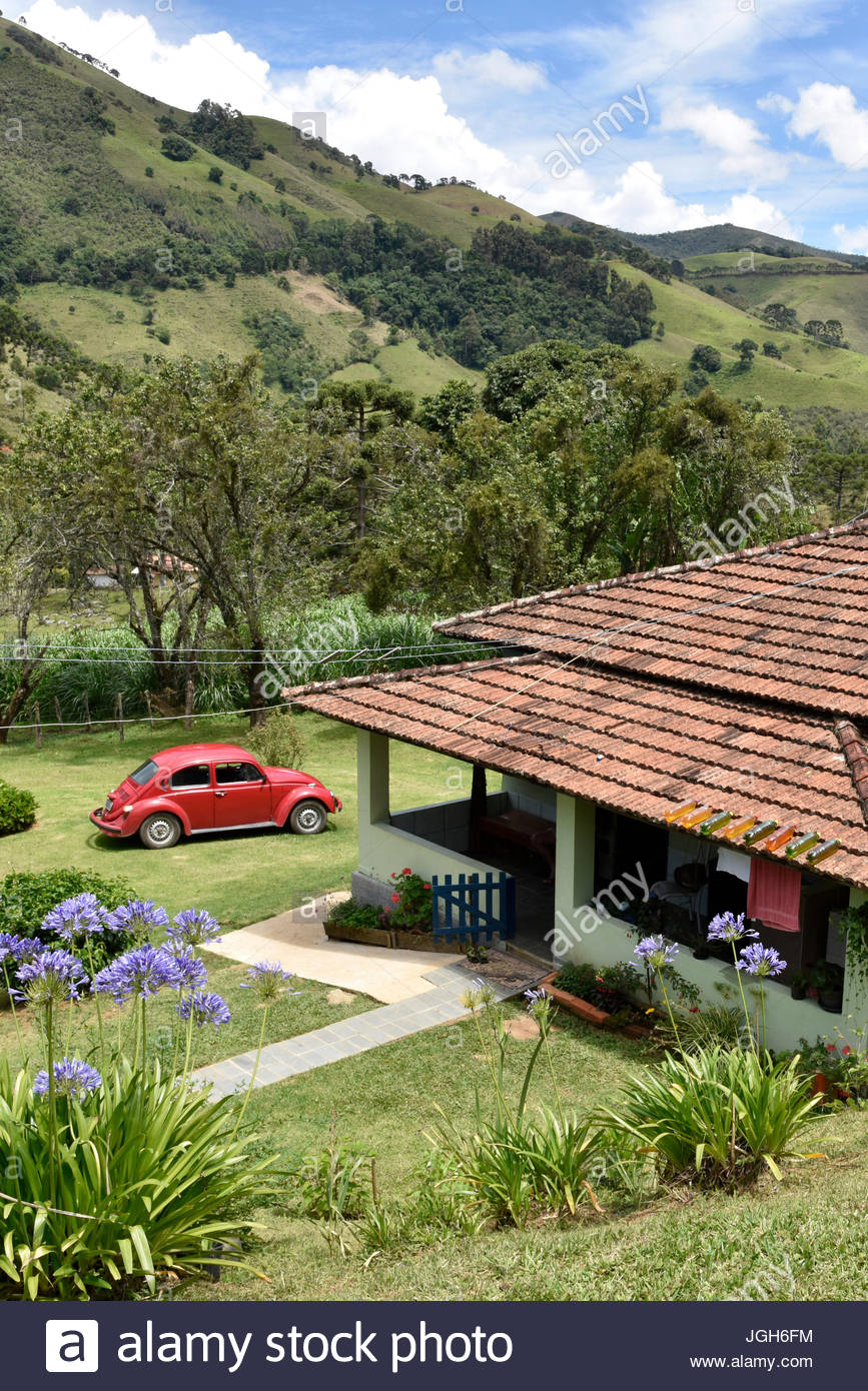 Typical house in the rural neighborhood Fragária in the Serra da Mantiqueira, Itamonte, Minas Gerais, Brazil, - Stock Image