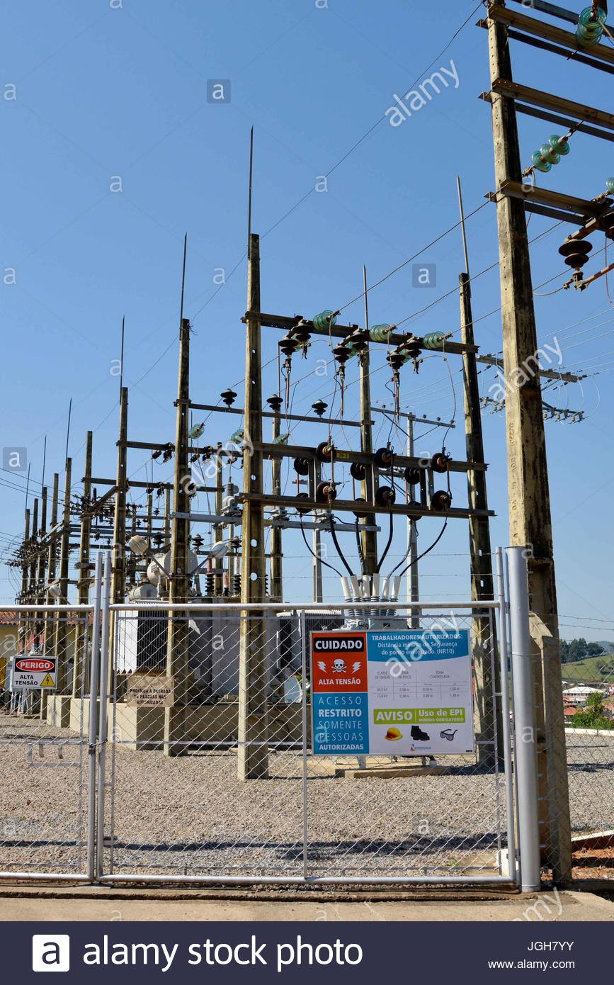 Substation Energisa Group in the city, Munhoz, Minas Gerais, Brazil. 10.2015 - Stock Image