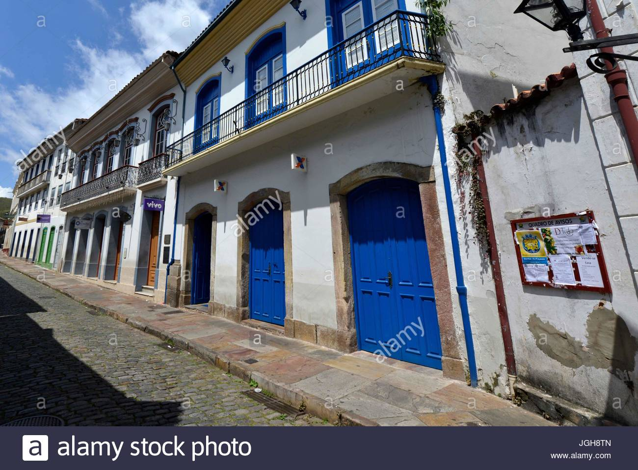 Old houses in the historic center of the city, beautiful Ouro Preto, Minas Gerais, Brazil , 01.2016 - Stock Image