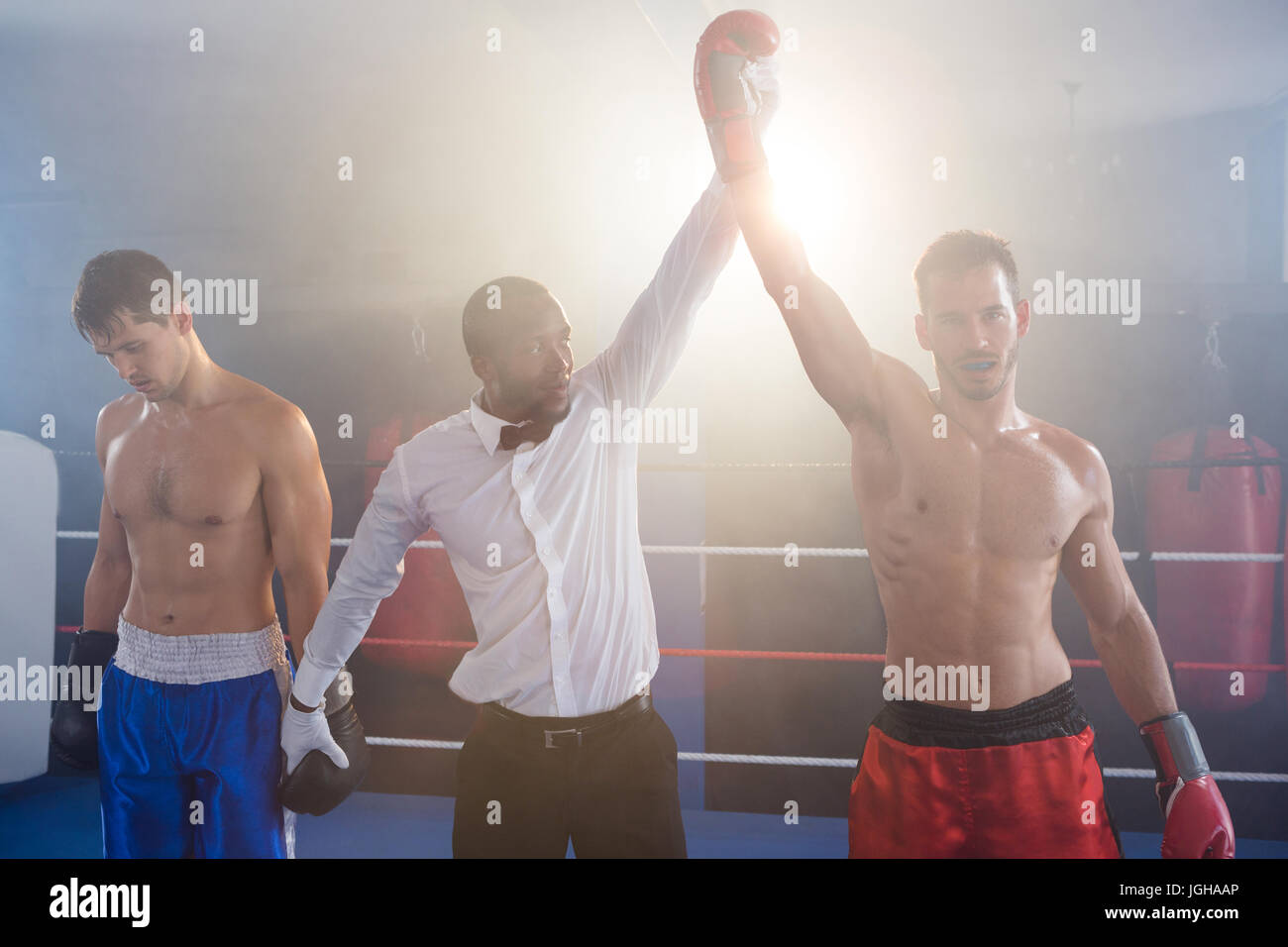Referee lighting hand of winner standing with loser in boxing ring - Stock Image
