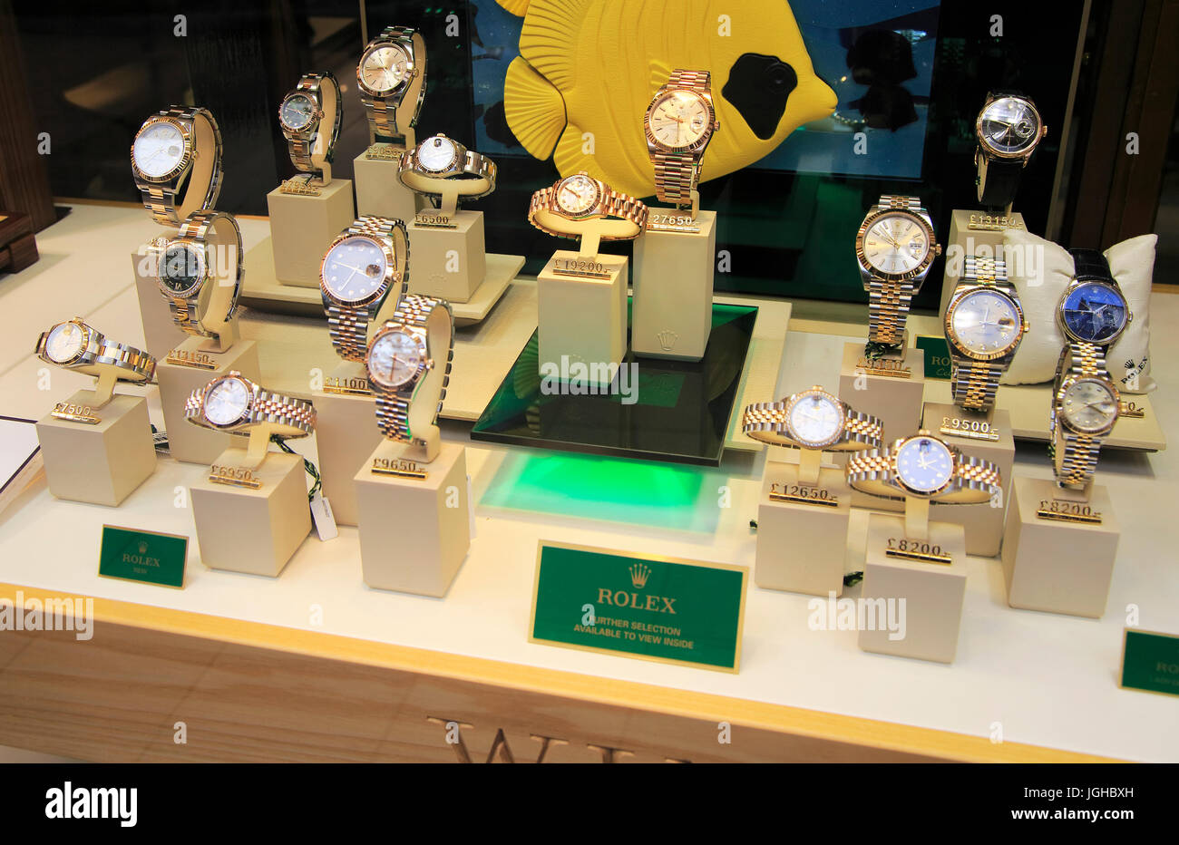 e2eb8982e4d Winsor Bishop jewellery shop window display of expensive Rolex watches