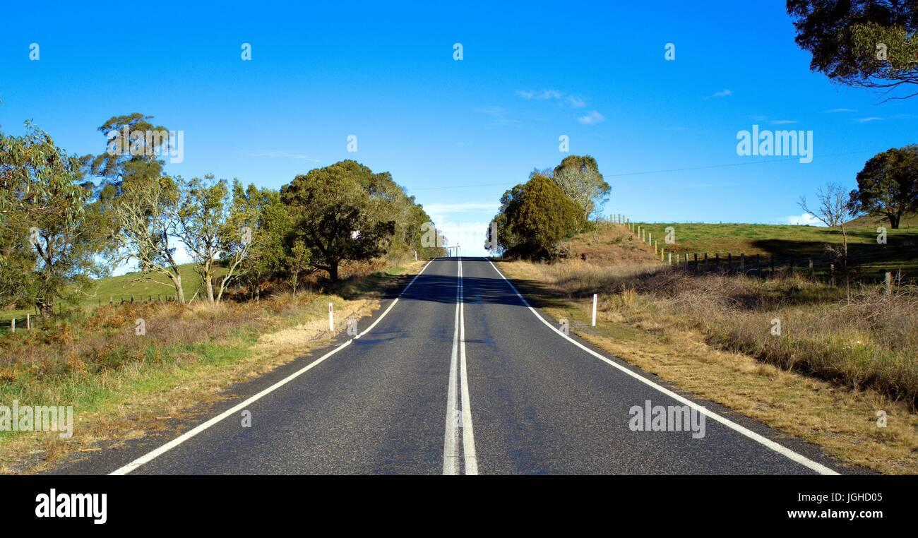 Beautiful country road with green grass meadow, trees and blue sky in the far background in New South Wales Australia - Stock Image