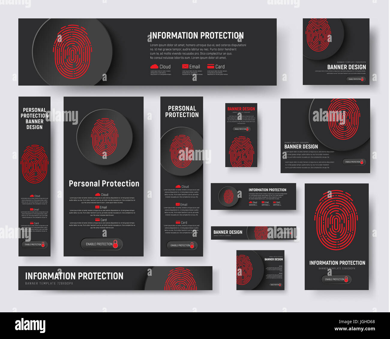 set of web banners of standard size. Black templates with a Stock ...