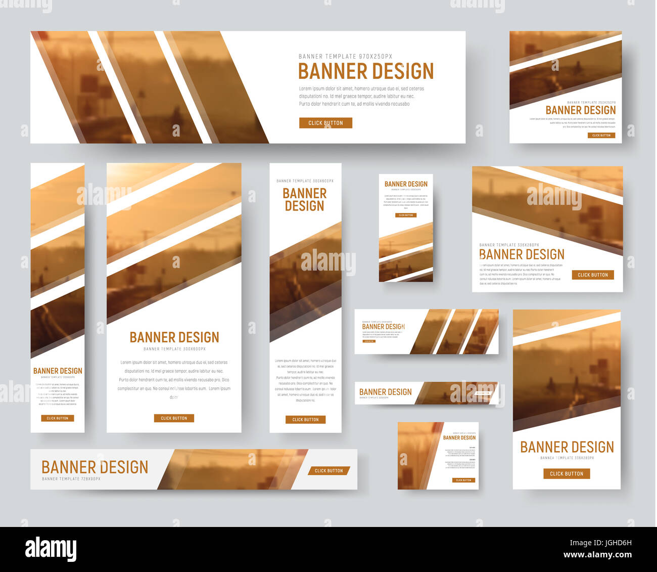 set of standard size banners web templates with diagonal stripes for photos blurred background for sample