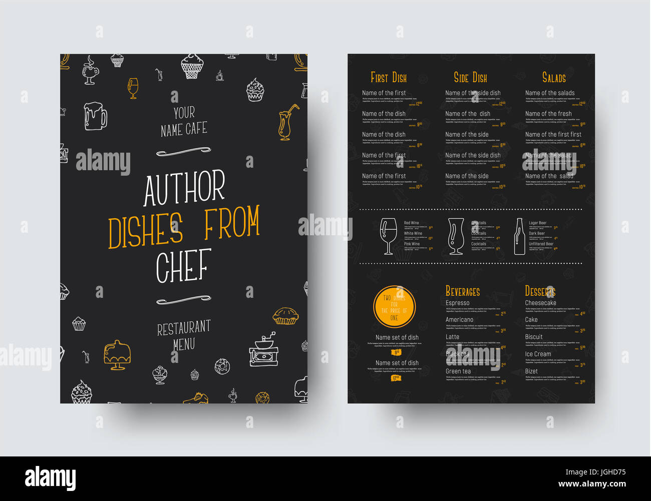 design of a black menu for a restaurant or cafe a template of the