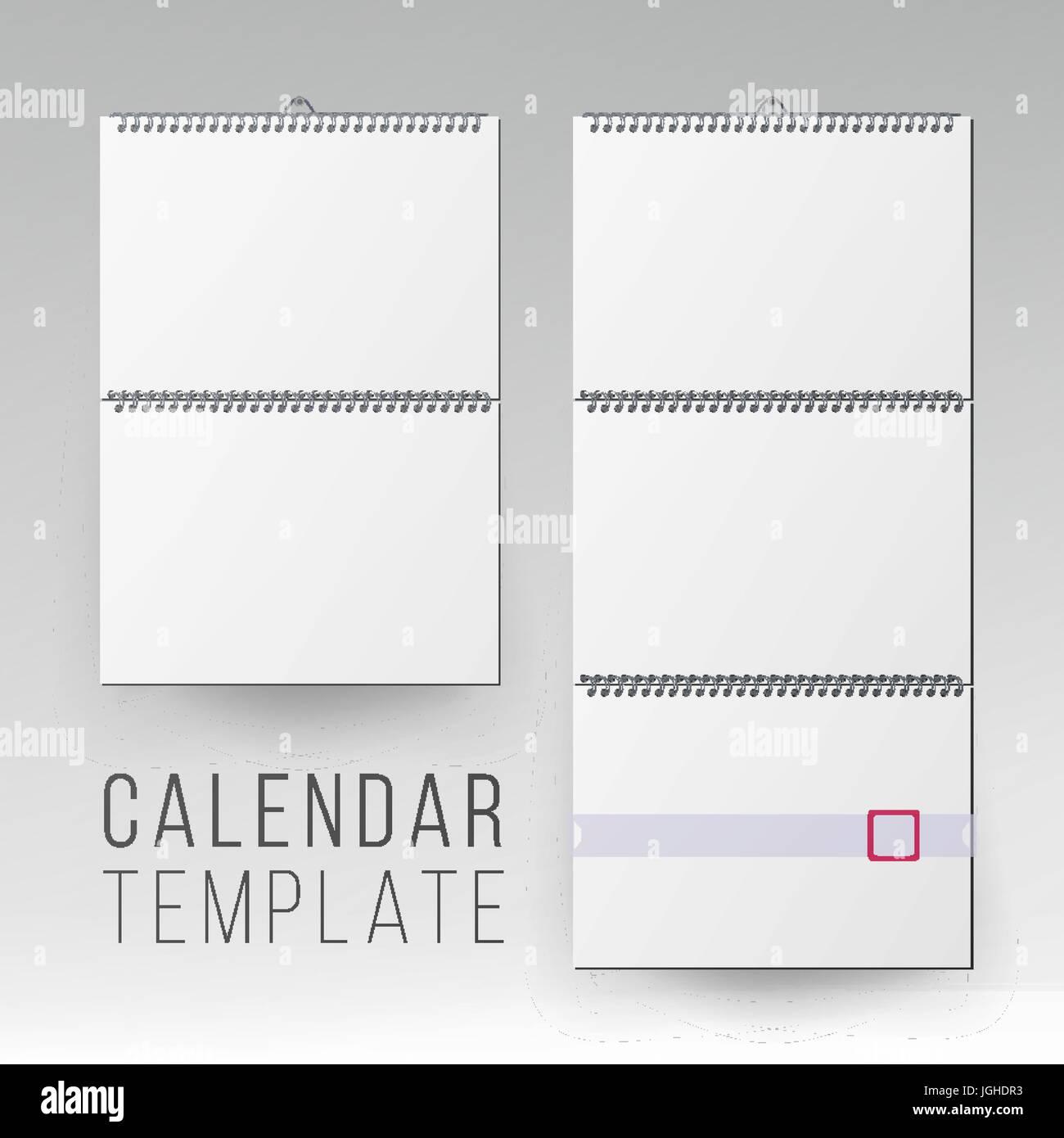 wall calendar mock up vector template square spiral calendar