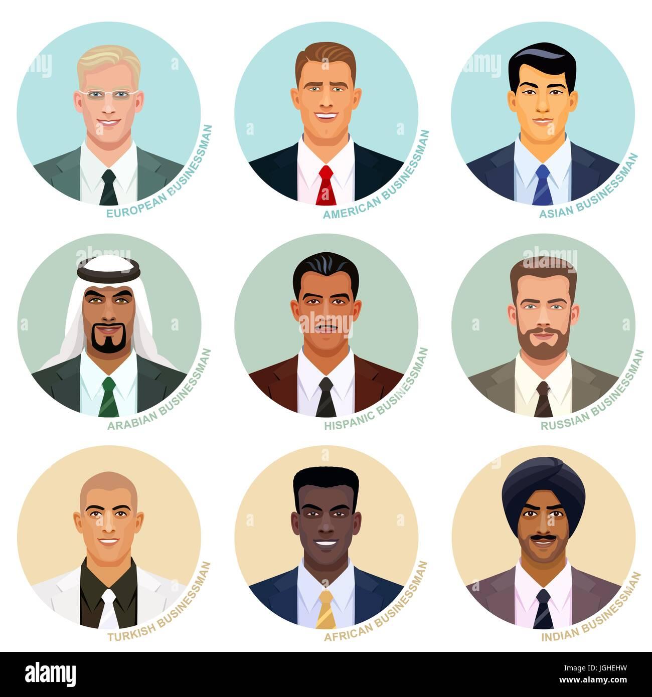 Vector set of international businessman faces. - Stock Image