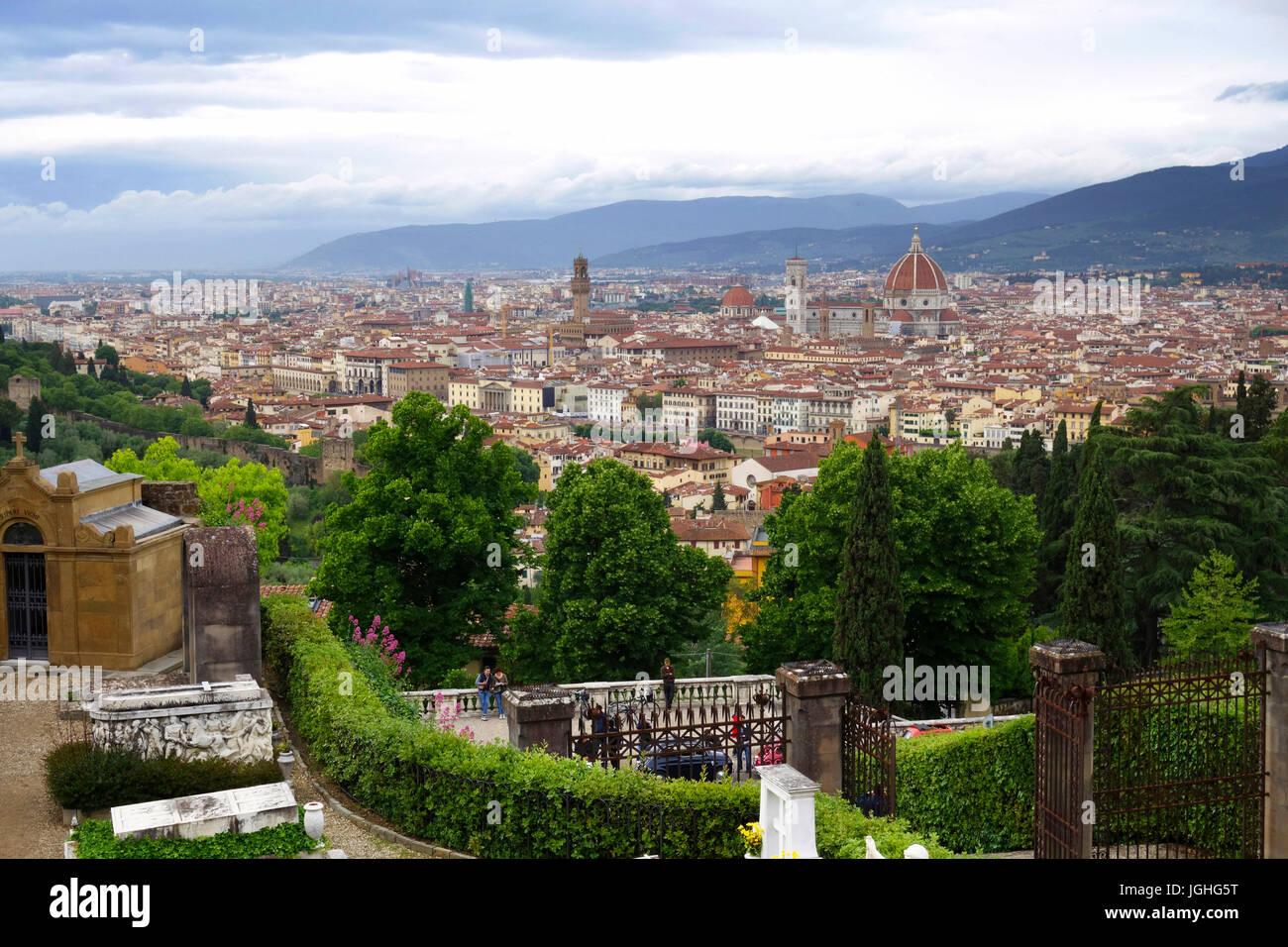 Looking north to Florence, Italy from Abbazia di San Miniato al Monte - Stock Image