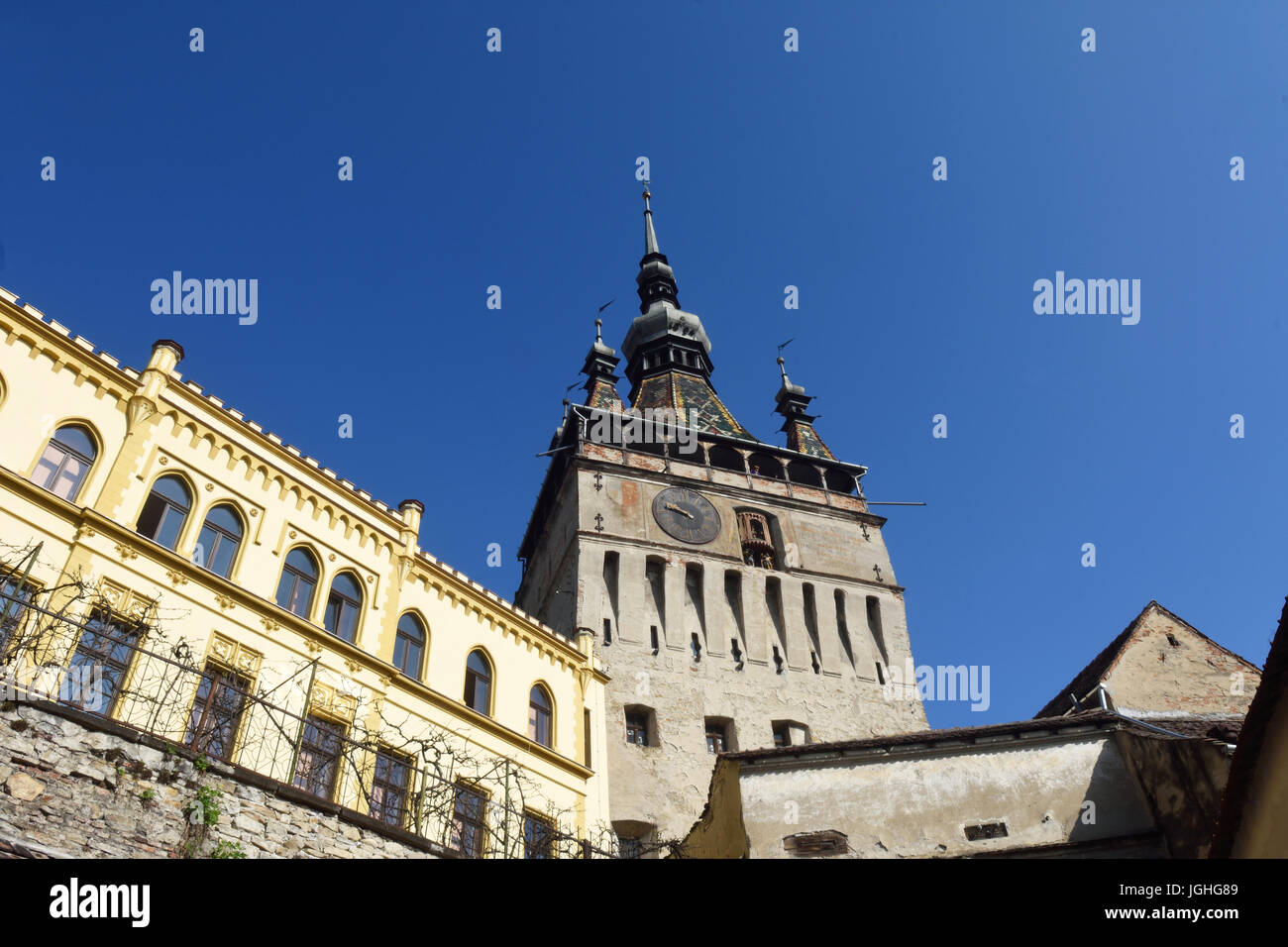 Unesco World Heritage Clock tower in Sighisoara Transylvania Romania Stock Photo