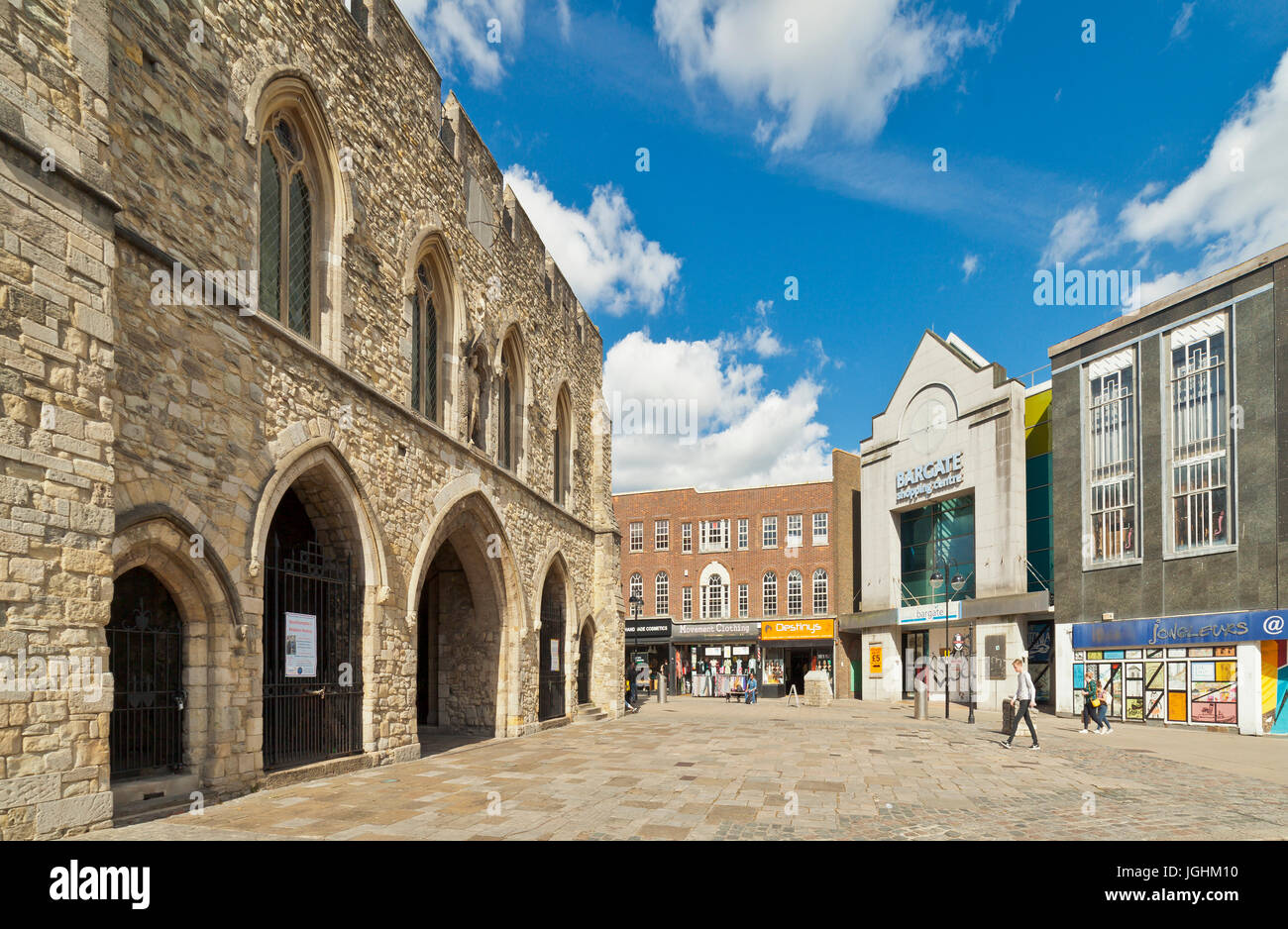 Bargate medieval gatehouse and High Street, Southampton. - Stock Image