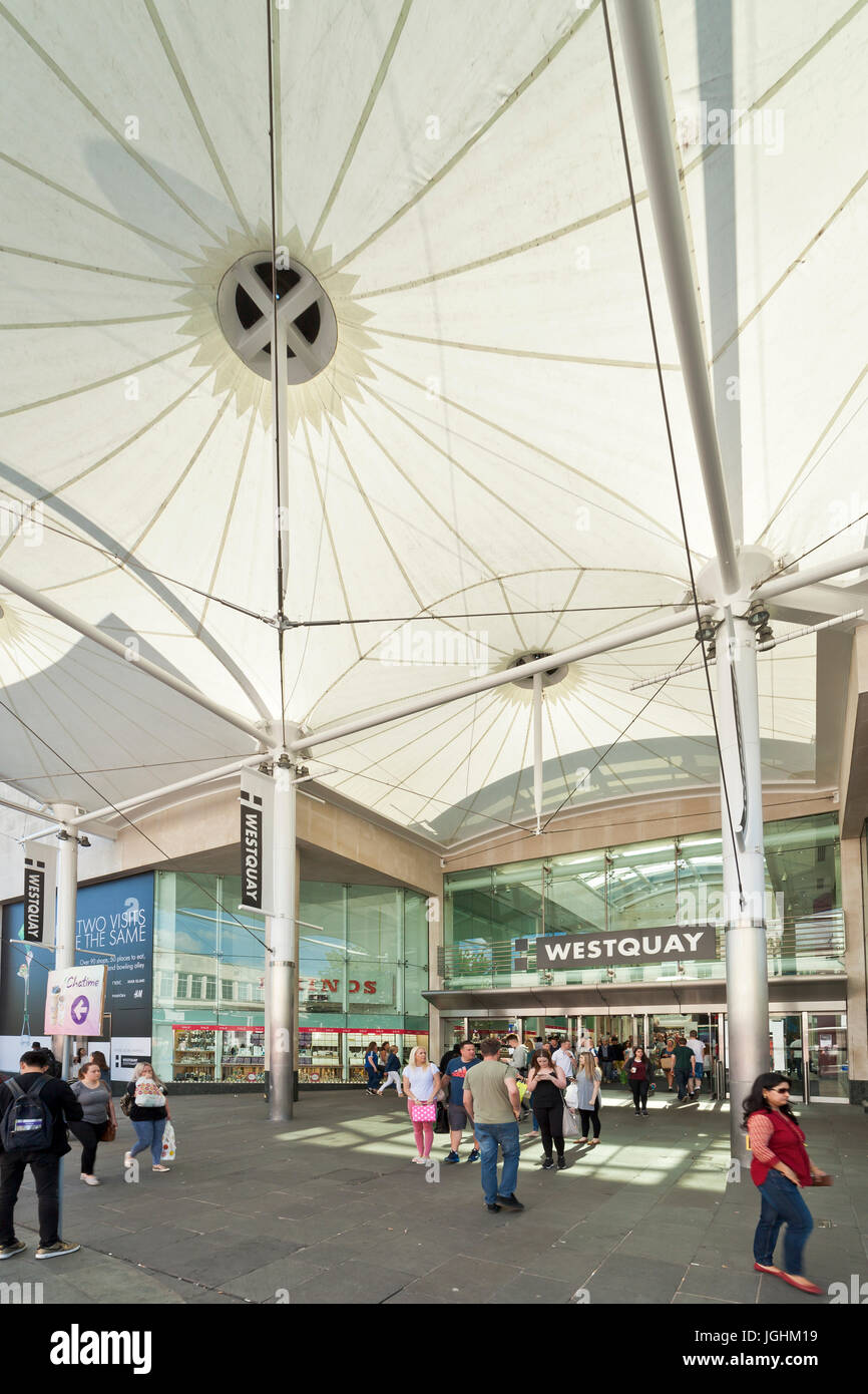 Entrance to WestQuay shopping center, Southampton. - Stock Image