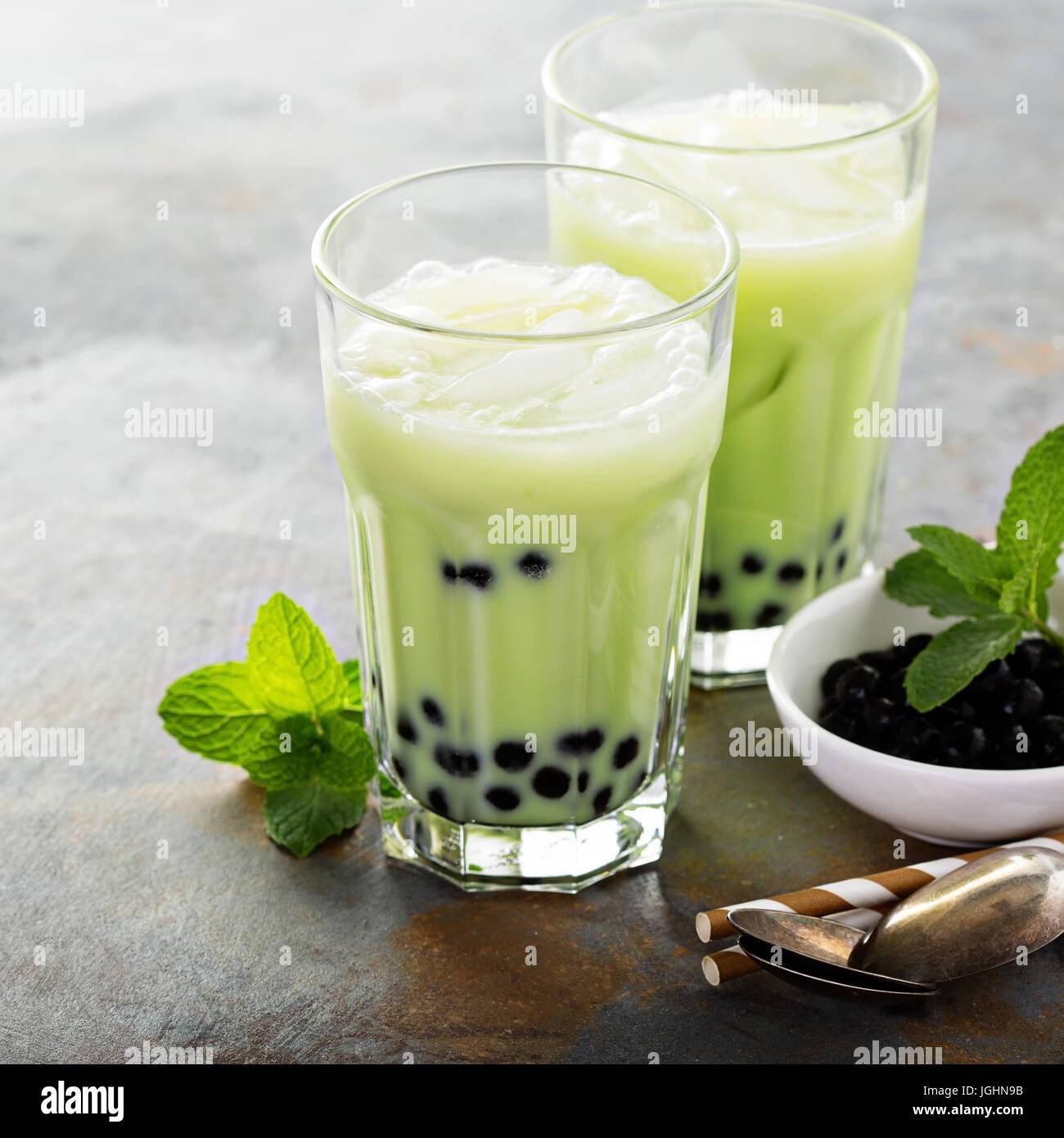 Matcha bubble tea - Stock Image