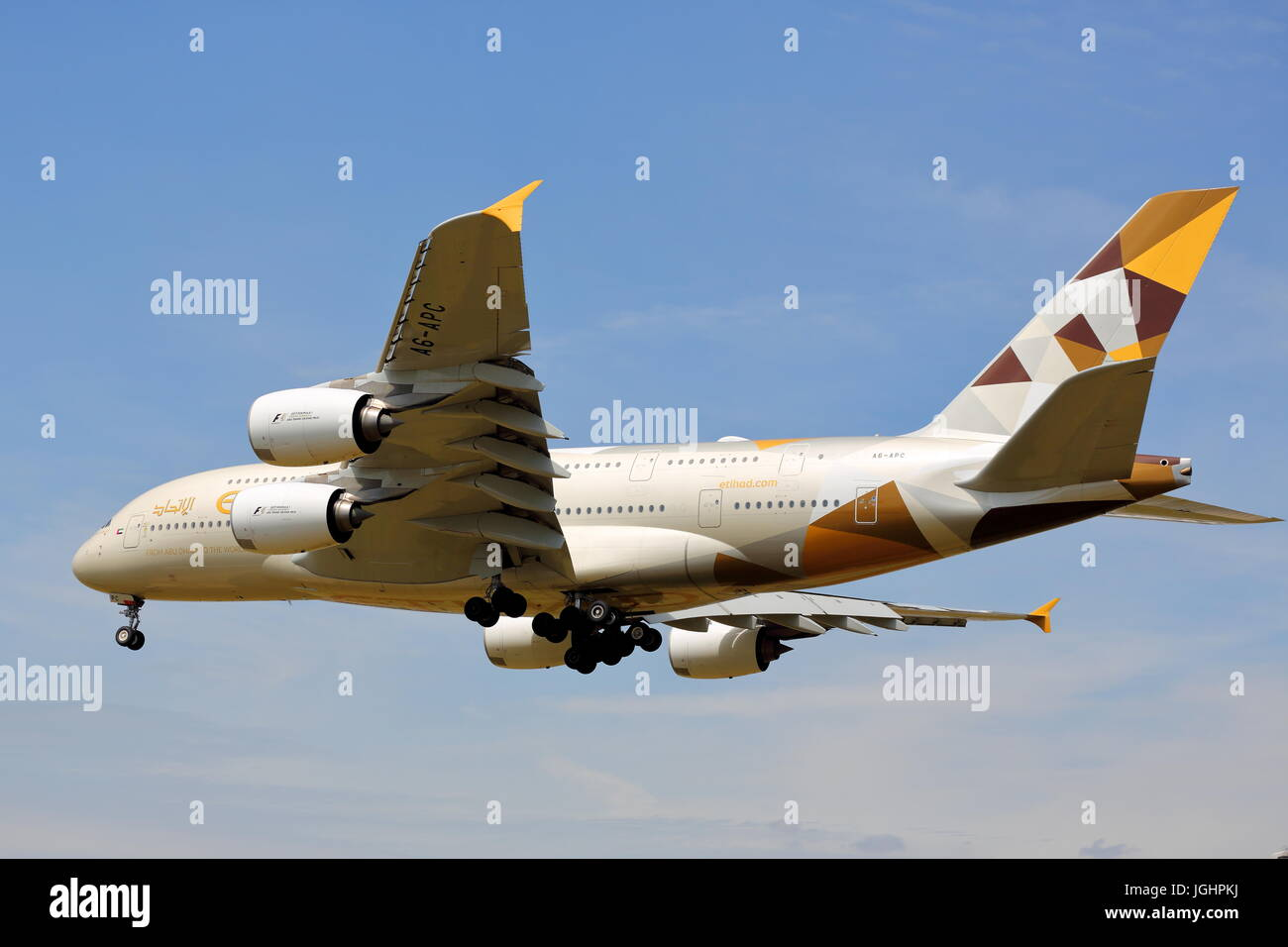 Etihad Airbus A380 A6-APC approaching London Heathrow Airport, UK - Stock Image