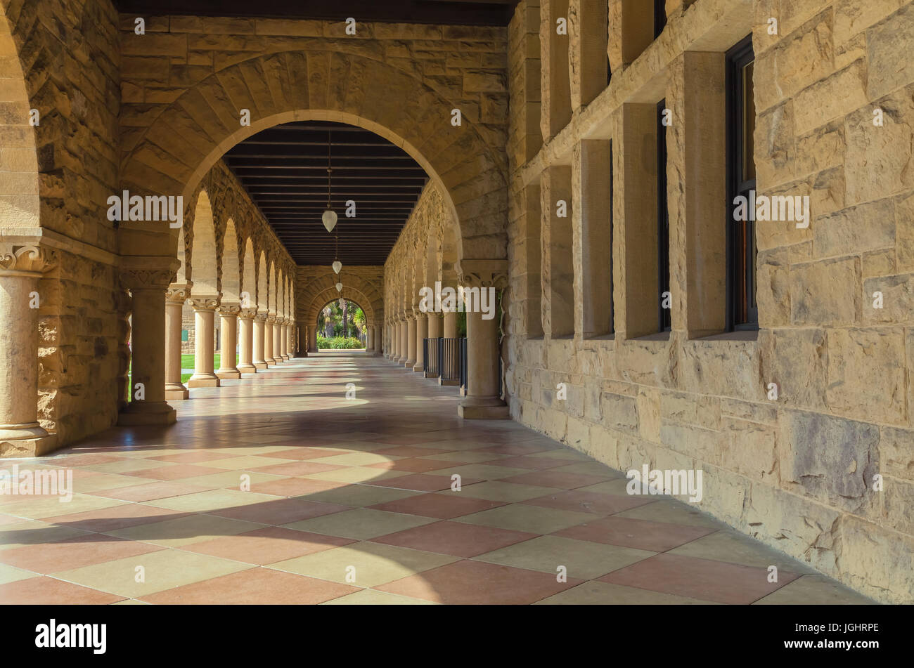 The architectures of the Stanford University campus in Palo Alto, California, USA - Stock Image